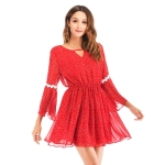 Sexy Backless Short Skirt Flared Sleeve Bohemian Backless Dress Beach Skirt (Color:Red Size:S)