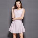 Solid Color Slim Slim Sleeveless Vest Bottoming Skirt Chiffon Dress (Color:Pink Size:S)
