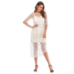 Slim-fit Floral Dress In Mesh Sleeves (Color:White Size:XL)