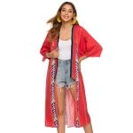 National Style V-neck Tassel Print Long Shawl Coat (Red)