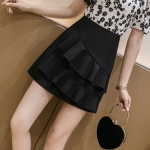 Summer Irregular Flounced Short Skirt high-waisted A-line Skirt (Color:Black Size:XXL)