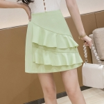 Summer Irregular Flounced Short Skirt high-waisted A-line Skirt (Color:Green Size:M)