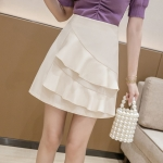 Summer Irregular Flounced Short Skirt high-waisted A-line Skirt (Color:Apricot Size:L)