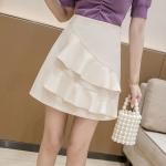 Summer Irregular Flounced Short Skirt high-waisted A-line Skirt (Color:Apricot Size:XXL)