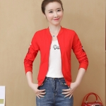 Fresh Embroidered Sunscreen Thin Coat (Color:Red Size:XXL)