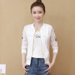 Fresh Embroidered Sunscreen Thin Coat (Color:White Size:XL)