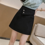 Summer Fashion Irregular High-waisted A-line Short Skirt (Color:Black Size:XXL)
