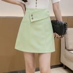 Summer Fashion Irregular High-waisted A-line Short Skirt (Color:Green Size:S)