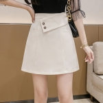 Summer Fashion Irregular High-waisted A-line Short Skirt (Color:Apricot Size:S)