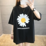 Little Daisy Korean Style Cotton Loose Short Sleeve Casual T Shirt Women (Color:Black Size:XL)