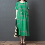 Loose Casual Comfortable Mid-length Skirt With Waist Round Neck Cotton Dress (Color:Green Size:M)