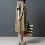 Loose Casual Dress Fashion Comfortable Solid Color Ramie Shirt Skirt (Color:Khaki Size:M)