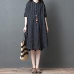 Loose Casual Dress Fashion Comfortable Striped Ramie Shirt Skirt (Color:Black Size:M)