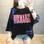 Korean Style Cotton Loose Letters Short Sleeve Casual T Shirt Women (Color:Black Size:M)