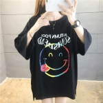 Korean Style Cotton Loose Smiley Cartoon Short Sleeve Casual T Shirt Women (Color:Black Size:L)
