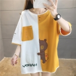 Korean Style Loose Cotton Short Sleeved Mid Length T Shirt Women (Color:Orange Size:M)