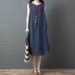 Loose Casual Fashion Comfortable Ramie Sleeveless Dress (Color:Navy Blue Size:L)