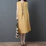 Loose Casual Fashion Comfortable Ramie Sleeveless Dress (Color:Yellow Size:L)