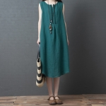 Loose Casual Fashion Comfortable Ramie Sleeveless Dress (Color:Green Size:L)
