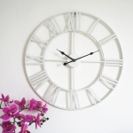 60cm White Living Room Iron Roman Numeral Mute Decorative Wall Clock