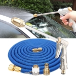 50ft 5m Telescopic Soft Tube Household Car High PressureWash Water Gun Spayer Nozzle Garden Irrigation Set (Blue)