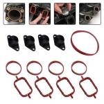 4x22mm Car Swirl Flap Air Intake Aluminum Gasket Remove Repair Kit(Black)