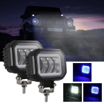 2 PCS Car 4 inch Square Spotlight Work Light with Angel Eyes (Blue Light)