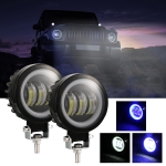 2 PCS Car 4 inch Round Spotlight Work Light with Angel Eyes (Blue Light)