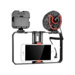 YELANGU PC202 YLG1801B Vlogging Live Broadcast LED Selfie Light Smartphone Video Rig Handle Stabilizer Bracket Kits with Microphone & Fill Light