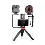 YELANGU PC204 YLG1801D Vlogging Live Broadcast LED Selfie Light Smartphone Video Rig Handle Stabilizer Bracket Kits with Microphone & Tripod