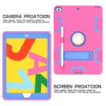 For iPad 10.2 Shockproof PC + Silicone Protective Case with Holder & Pen Slot(Rose Red+Blue)