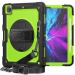 For iPad Pro 12.9 (2020) Shockproof Colorful Silicone + PC Protective Case with Holder & Shoulder Strap & Hand Strap & Pen Slot(Black Yellow Green)