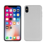 For iPhone XS / X Carbon Fiber Texture Shockproof TPU Protective Case(Silver)