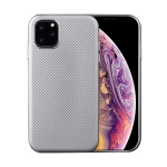 For iPhone 11 Pro Carbon Fiber Texture Shockproof TPU Protective Case(Silver)