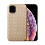 For iPhone 11 Pro Max Carbon Fiber Texture Shockproof TPU Protective Case(Gold)