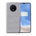 For OnePlus 7T Carbon Fiber Texture Shockproof TPU Protective Case(Silver)