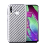 For Samsung Galaxy A40 Carbon Fiber Texture Shockproof TPU Protective Case(Silver)