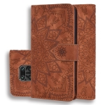 For Xiaomi Redmi Note 9 Pro Max Embossed Sunflower Pattern Horizontal Flip PU Leather Case with Holder & Card Slots & Wallet & Lanyard(Brown)