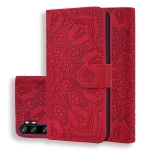 For Xiaomi Mi CC9 Pro / Mi Note 10 / Mi Note 10 Pro Embossed Sunflower Pattern Horizontal Flip PU Leather Case with Holder & Card Slots & Wallet & Lanyard(Red)