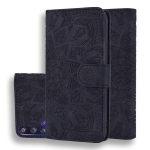 For Huawei Nova 5T / Honor 20 Embossed Sunflower Pattern Horizontal Flip PU Leather Case with Holder & Card Slots & Wallet & Lanyard(Black)