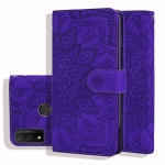 For Huawei P smart 2020 Embossed Sunflower Pattern Horizontal Flip PU Leather Case with Holder & Card Slots & Wallet & Lanyard(Purple)