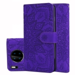 For Huawei Mate 30 Pro Embossed Sunflower Pattern Horizontal Flip PU Leather Case with Holder & Card Slots & Wallet & Lanyard(Purple)