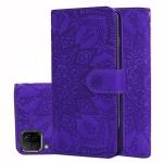 For Huawei P40 Lite / Nova 6 SE Embossed Sunflower Pattern Horizontal Flip PU Leather Case with Holder & Card Slots & Wallet & Lanyard(Purple)