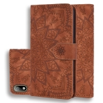 For Huawei Y5 (2019) Embossed Sunflower Pattern Horizontal Flip PU Leather Case with Holder & Card Slots & Wallet & Lanyard(Brown)