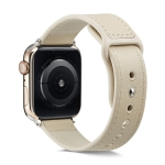 For Apple Watch Series 5 & 4 44mm / 3 & 2 & 1 42mm Single Buckle TPU+ Genuine Leather Watchband(Creamy White)