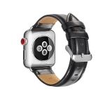 For Apple Watch Series 5 & 4 40mm / 3 & 2 & 1 38mm Crazy Horse Texture Top-grain Leather Watchband(Black)