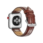 For Apple Watch Series 5 & 4 44mm / 3 & 2 & 1 42mm Crazy Horse Texture Top-grain Leather Watchband(Dark Brown)