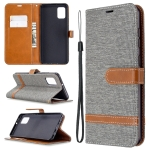 For Samsung Galaxy A31 Denim Texture Horizontal Flip Leather Case with Holder & Card Slots & Wallet & Lanyard(Grey)