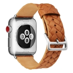 For Apple Watch Series 5 & 4 44mm Top-grain Leather Embossed Watchband(Brown)