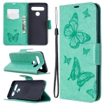 For LG K61 Two Butterflies Embossing Pattern Horizontal Flip Leather Case with Holder & Card Slot & Wallet & Lanyard(Green)